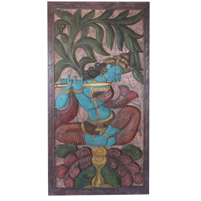 "Vintage Krishna Fluting ""Balancing Our Chakras"" Sculptural Door Panel For Sale"