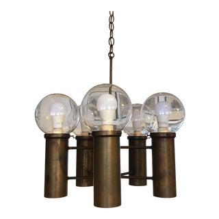 Mid-Century Brass and Glass Globe Chandelier