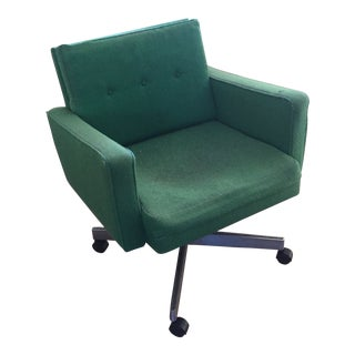 1950s Vintage Green Swivel Jens Risom Office Chair For Sale
