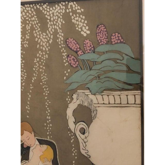 1980s 1980s Art Nouveau Batik of Lovers, Framed For Sale - Image 5 of 9