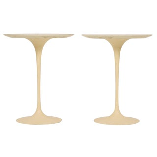 Eero Saarinen for Knoll International Cast Iron 'Tulip' Side Tables - a Pair For Sale