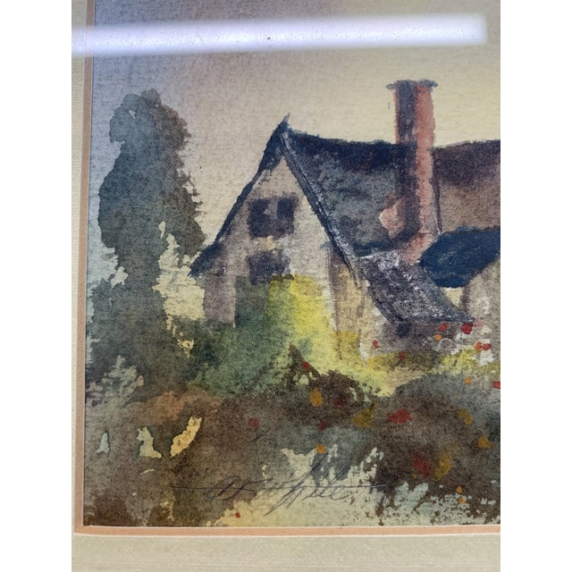 """Lovely original watercolor of English cottage by A.F. White. Great vintage condition and in nice frame. 10 x 12"""" framed."""
