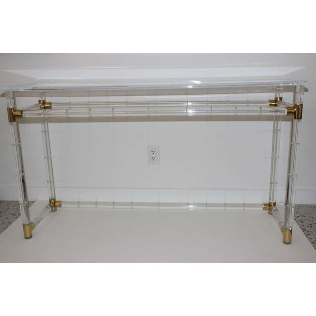 Lucite and Brass Console Table by Charles Hollis Jones For Sale - Image 11 of 13
