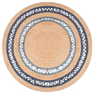 Contemporary Jaipur Living Elly Natural Bordered Beige/ Blue Round Area Rug - 6′ × 6′