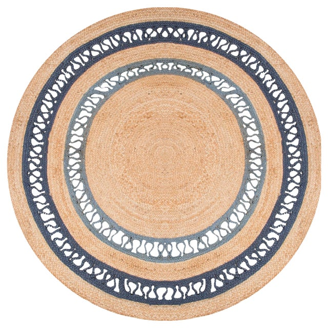 Contemporary Jaipur Living Elly Natural Bordered Beige/ Blue Round Area Rug - 6′ × 6′ For Sale