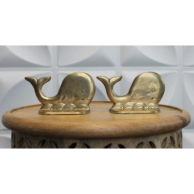 Vintage Brass Whale and Wave Bookends - Image 4 of 7