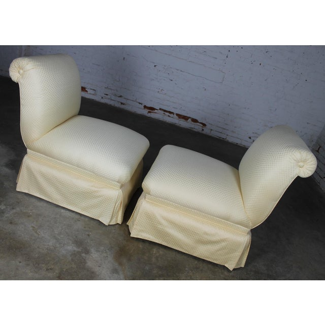 Donghia White Slipper Chairs - A Pair - Image 9 of 10