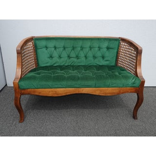 Vintage French Country Tufted Green Velvet Settee Loveseat W Cane Preview
