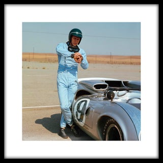 Steve McQueen With His Lola Race Car Framed Print