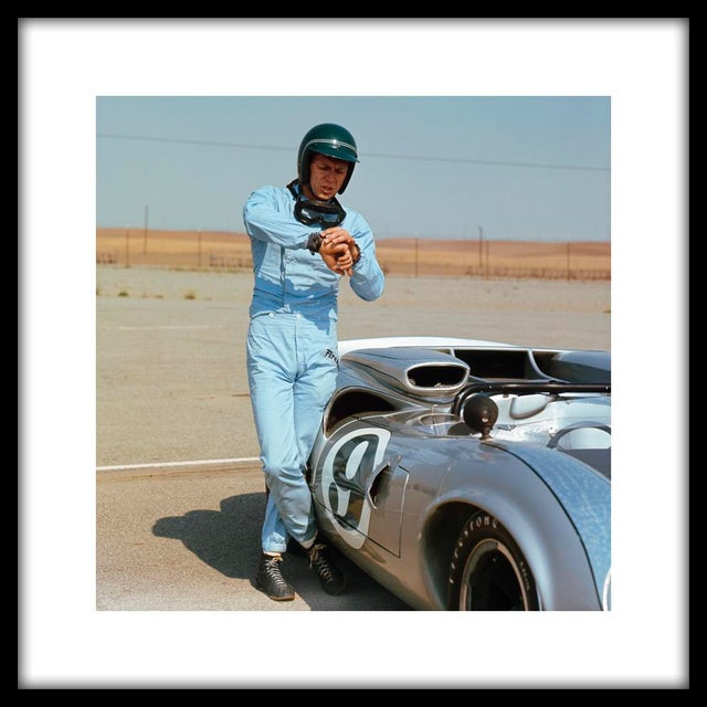 Image of Steve McQueen With His Lola Race Car Framed Print
