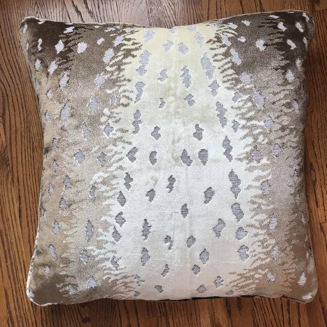 Textile Old World Weavers Silk Cut Velvet Antelope Pillow For Sale - Image 7 of 7