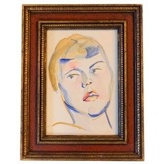 Original 1970's Vintage Watercolor Female Portrait, For Sale
