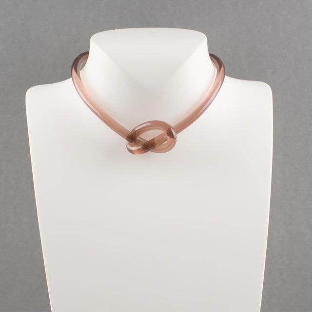 Exquisite Italian artisan designer studio collar choker necklace. Rigid band Lucite shape in transparent dark copper pink...