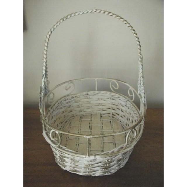 Art Nouveau 20th Century Vintage Metal & Straw Oval Basket For Sale - Image 3 of 6