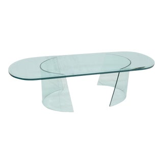 Bent Curved Glass C-Shape Base Oval Racetrack Top Coffee Table For Sale