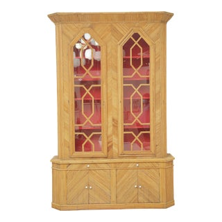 Vintage Bamboo Display Cabinet With Red Interior For Sale