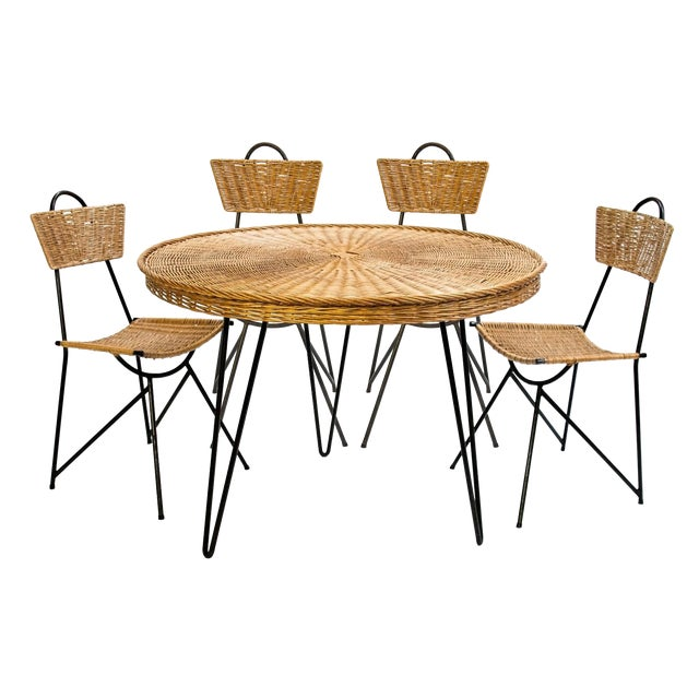 Rattan Chairs and Round Dining Table Set, France 1950's - 5 Pc. Set For Sale