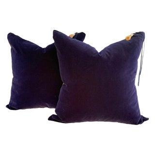 Country Plush Indigo Velvet and Linen Pillows - a Pair For Sale