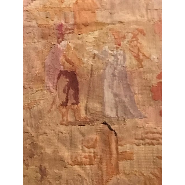 Late 19th Century Antique Pastoral Scene Wool Tapestry For Sale - Image 5 of 10