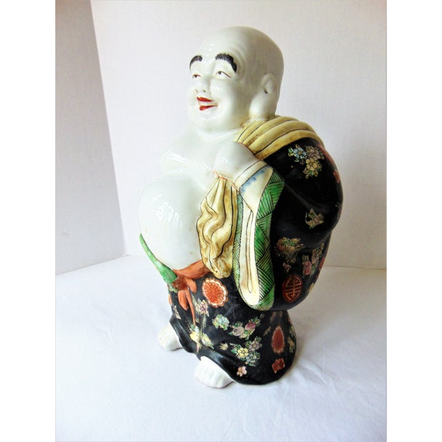 Asian Vintage Chinese Porcelain Buddha Figurine For Sale - Image 3 of 7