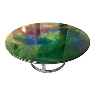 Designer Hand Painted Epoxy Resin on Glass Chrome Accent Table