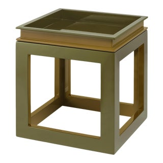 Jeffrey Bilhuber Collection Small Cube Tray Table in Light Olive / Lichen Green For Sale