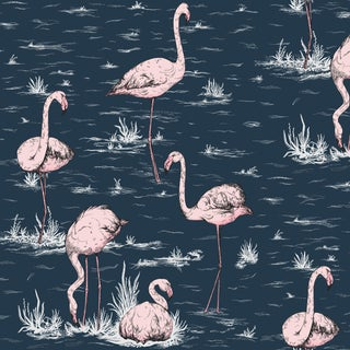 Cole & Son Flamingos Classic Botanical Style Wallpaper Sample For Sale