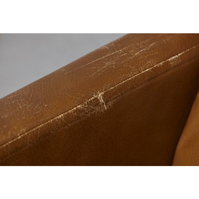Florence Knoll Tan Leather Button Tufted Lounge Chair, 1970s For Sale - Image 10 of 12