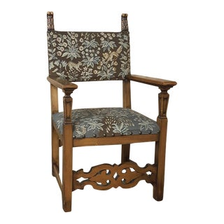 19th Century Vintage Italian Tuscan Armchair With Needlepoint For Sale