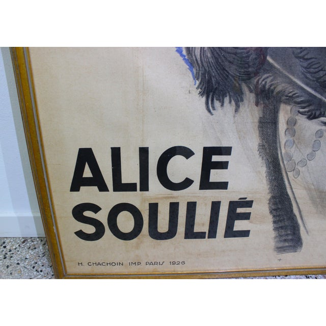 """Watercolor Antique 1926 Multimedia Poster by Jean Gabriel Domerge """"Alice Soulie"""" Watercolor Gouache Charcoal on Paper With Christie's Coa For Sale - Image 7 of 13"""