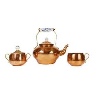Vintage Odi Copper Hand Painted Porcelain Handle Tea Kettle Set, Made in Portugal - Set of 3 For Sale