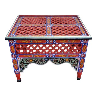 Moroccan Rectangular Wooden Side Table, 13lm24 For Sale