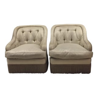 Fringe Trim Tufted Club Chairs - a Pair