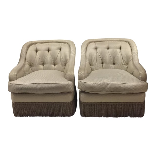 Fringe Trim Tufted Club Chairs - a Pair For Sale