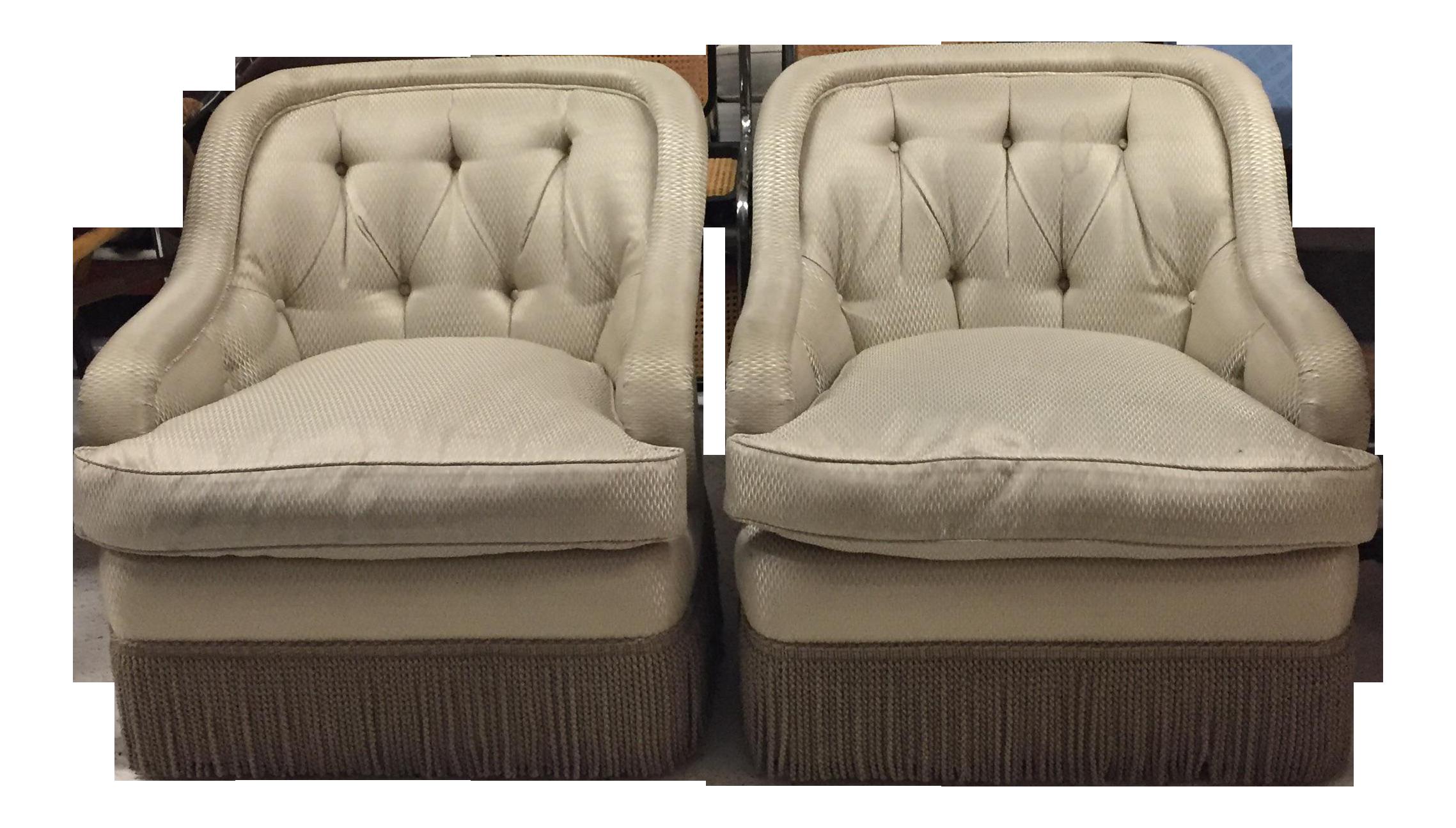 Merveilleux Fringe Trim Tufted Club Chairs   A Pair For Sale