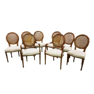 Set of Eight Vintage French Louis XVI Newly Upholstered Pale Pink Velvet Cane Back Dining Chairs 2 Armchairs and 6 Side Chairs For Sale