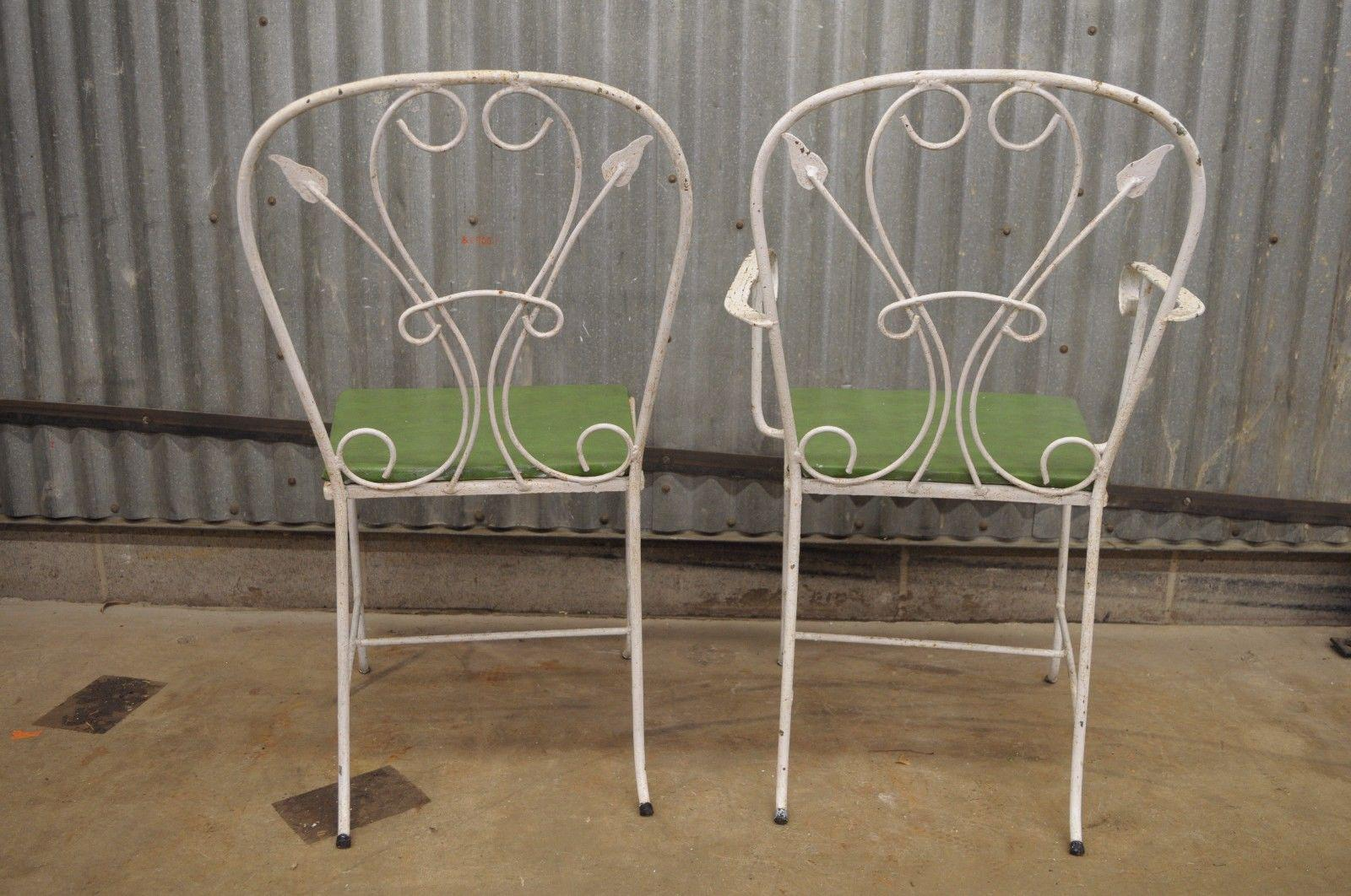 Gentil Vintage Salterini Wrought Iron Patio Dining Set Table 4 Chairs Art Nouvea  White For Sale