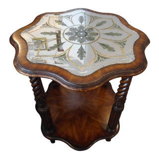 Octagonal Flower Shaped Mirrored Top Side Table