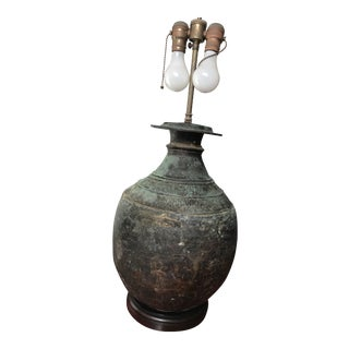 Large Metal Lamp Base With Patina For Sale