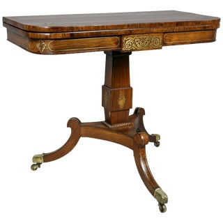 Regency Rosewood and Brass Inlaid Games Table For Sale