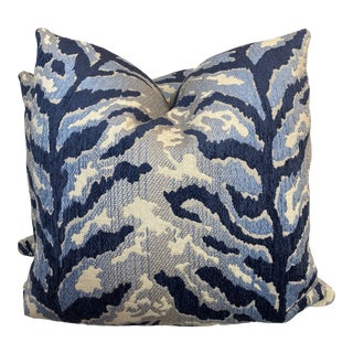 "Blue Tiger Print Woven 22"" Pillows-A Pair For Sale"