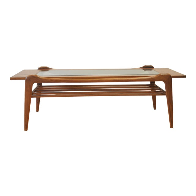1960s Scandinavian Modern Wood and Glass Coffee Table For Sale