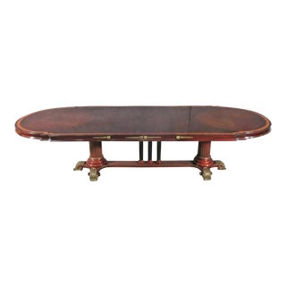 French Mahogany Regency Dining Conference Table With Bronze Feet and One Leaf For Sale