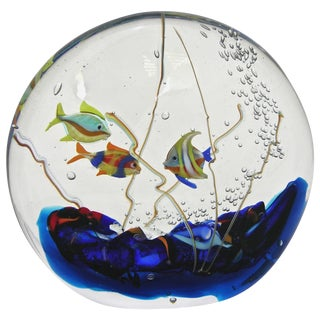 Alberto Dona 1980s Blue, Red, Yellow, Green Murano Glass Aquarium Round Sculpture For Sale