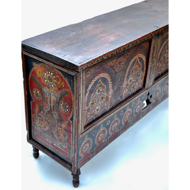 Blue Moroccan Polychrome Wedding Chest 1940s For Sale - Image 8 of 12