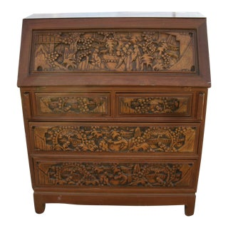 20th Century Asian Elaborately Hand Carved Secretary Desk For Sale