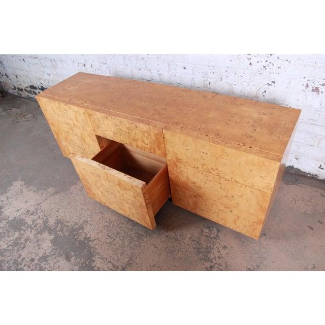 Milo Baughman Burled Olive Wood Long Dresser or Credenza For Sale - Image 10 of 12