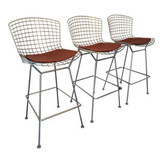Iconic Satin Chrome Harry Bertoia for Knoll Barstools- Set of 3 For Sale