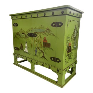 Asian Chinoiserie Style Bar Cabinet For Sale