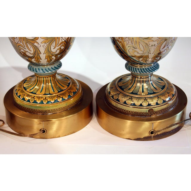 1930s Vintage Gualdo Tadino Luster Pottery Italian Majolica Gargoyle Robbia Lamps - a Pair For Sale - Image 5 of 12